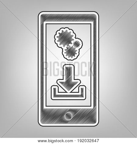 Phone settings. Download and install apps. Vector. Pencil sketch imitation. Dark gray scribble icon with dark gray outer contour at gray background.