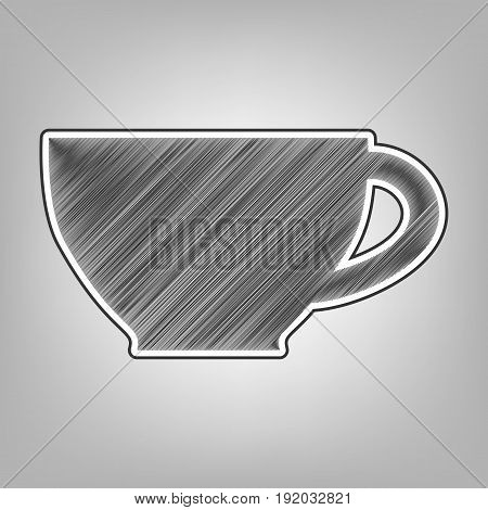 Cup sign. Vector. Pencil sketch imitation. Dark gray scribble icon with dark gray outer contour at gray background.