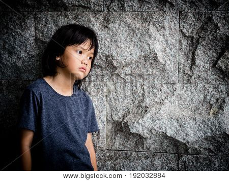 little boy unhappy sad and tress alone