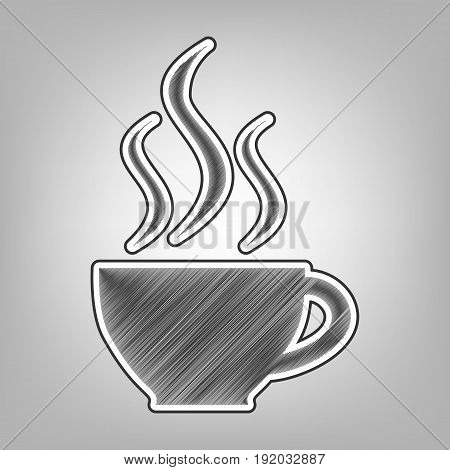 Cup sign with three small streams of smoke. Vector. Pencil sketch imitation. Dark gray scribble icon with dark gray outer contour at gray background.