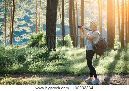 Woman Photographing On Landscape In The Woods.