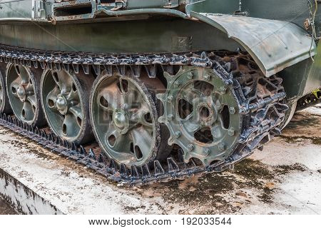 Closeup to Crawler of Old Military Tank