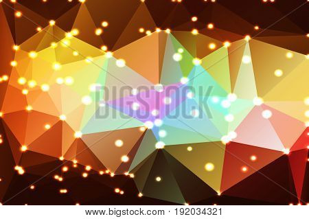Red pink green blue brown abstract low poly geometric background with defocused lights