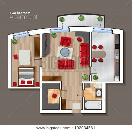 Vector top view floor plan of the house room. Modern dining room, bedroom and bathroom interior with furniture.