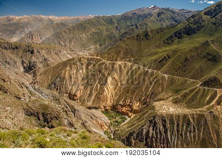 Beatiful Colca canyon trek going steep down, ner Arequipa town Peru