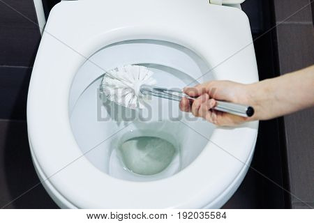 Toilet, brush, cleanliness, white toilet bowl, brush clean the toilet bowl.