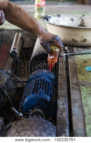Hand Oiling Gear And During Maintenance Work Of Electric Motor