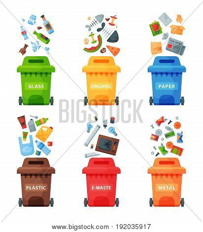 Waste management concept segregation separation garbage cans sorting recycling disposal refuse bin vector illustration. Colored rubbish trash container flat design