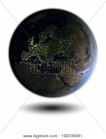 Europe On Night Globe