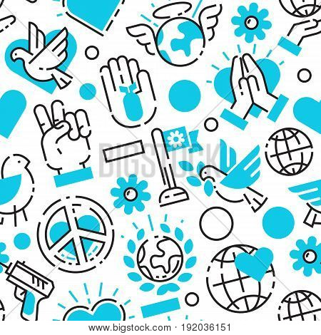 Peace blue love world freedom international free care hope seamless pattern vector illustration. Cooperation flag happy together and no war direction arrow.