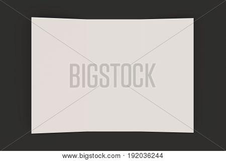 Blank White Open Three Fold Brochure Mockup On Black Background