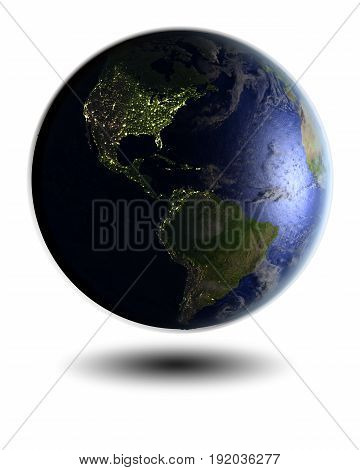 Americas On Night Globe