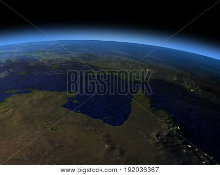 Northern Australia From Space In Evening