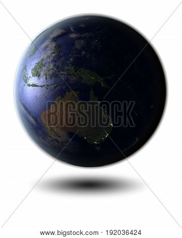 Australia On Night Globe