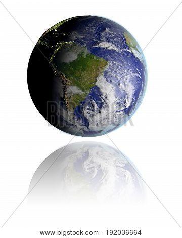 South America On Globe