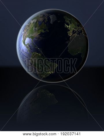 Northern Hemisphere  On Dark Globe