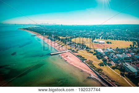Aerial Panorama Of Melbourne Coastline On Bright Sunny Day.