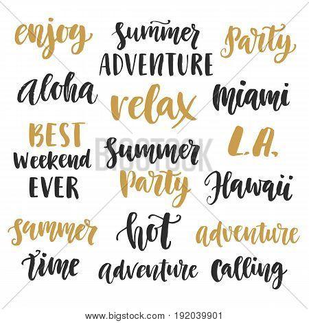 Summer cute hand written brush lettering set. Modern calligraphy. Vector illustration, Gift card, poster, banner, brochure design elements