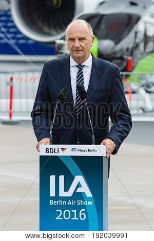 BERLIN GERMANY - JUNI 01 2016: Speech by Dietmar Woidke Minister President of Brandenburg. Exhibition ILA Berlin Air Show 2016
