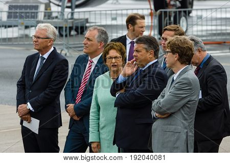 BERLIN GERMANY - JUNI 01 2016: Minister for Economic Affairs and Energy Sigmar Gabriel and accompanying persons opened Exhibition ILA Berlin Air Show.