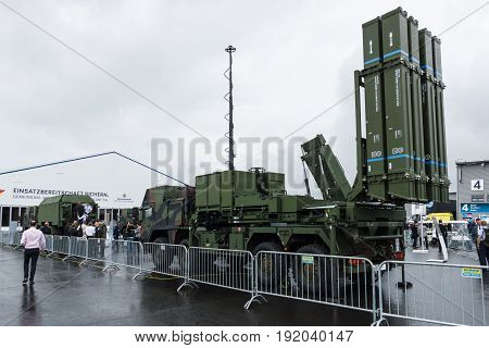 BERLIN GERMANY - JUNE 01 2016: Launching station IRIS-T SL on the basis of vehicle MAN SX44. Diehl Defence. Exhibition ILA Berlin Air Show 2016