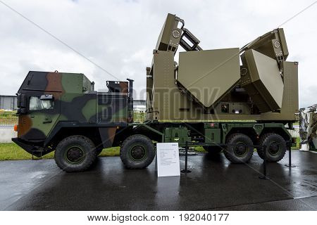 BERLIN GERMANY - JUNE 01 2016: 3D Multi Mission Radar on the basis of vehicle MAN SX45 of the company Diehl Defence. Exhibition ILA Berlin Air Show 2016