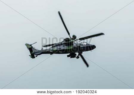 BERLIN GERMANY - JUNE 01 2016: Attack helicopter Airbus Helicopters Tiger. Exhibition ILA Berlin Air Show 2016