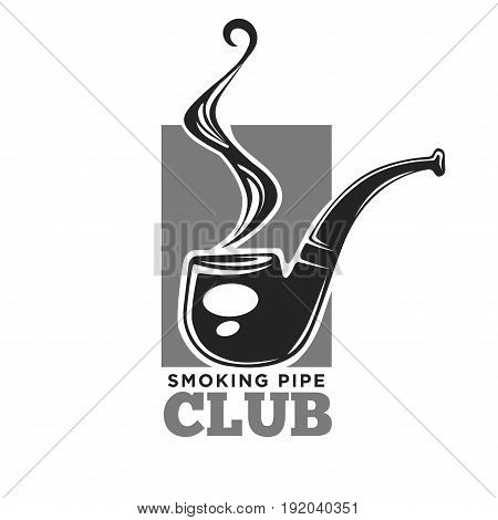 Smoking club colorless logo label with isolated black pipe and smoke on grey rectangular on white. Close up vector poster company badge for men unhealthy entertainment while pastime in vintage design