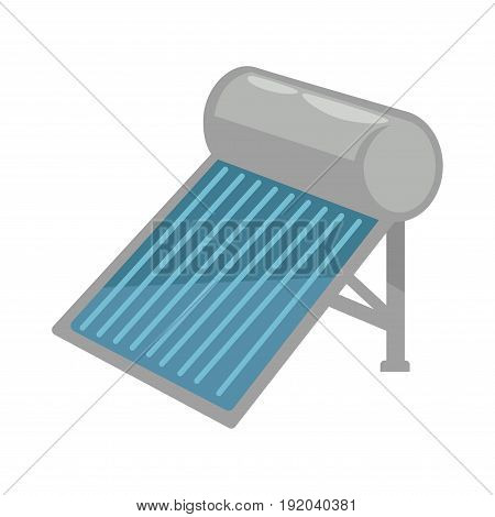 Solar battery in shiny metal corpus with striped blue main surface isolated vector illustration on white background. Ecologically safe modern technology for collecting energy without air pollution.