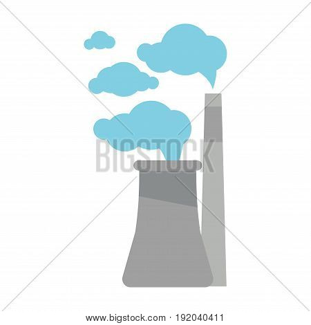 Factory pipes that emits harmful gases in air isolated vector illustration on white background. Plant that produces emissions and influences ecology. Blue clouds of smoke that comes from chimneys.