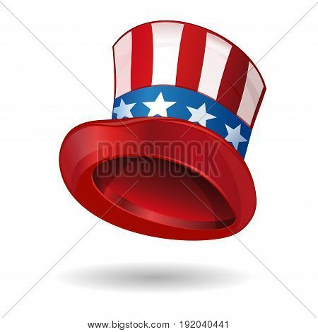 Hat in American flag color. Uncle Sams hat. Top hat made of United States flag. Star striped hat. Vector illustration