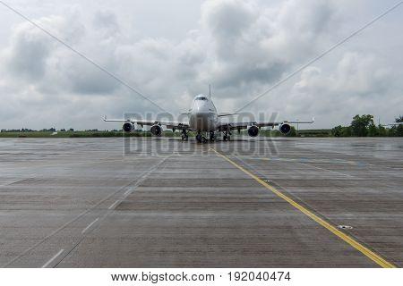 BERLIN GERMANY - JUNE 01 2016: International Airport Schoenefeld. Iron Maiden's Boeing 747