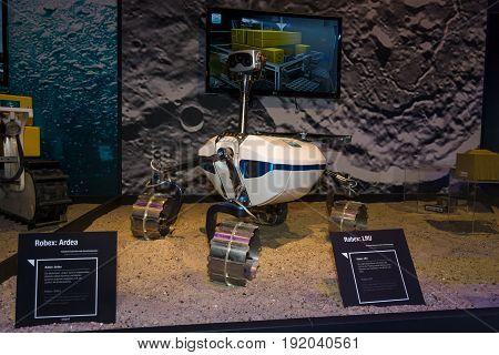 BERLIN GERMANY - JUNE 01 2016: The prototype of Moon rover