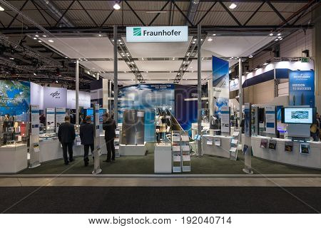BERLIN GERMANY - JUNE 01 2016: The stand of Fraunhofer Society. Exhibition ILA Berlin Air Show 2016