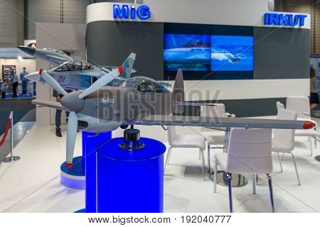 BERLIN GERMANY - JUNE 01 2016: The stand of Unated Aircraft Corporation (Russia). Model of Russian aerobatic and sports competition aircraft Yakovlev Yak-152. Exhibition ILA Berlin Air Show 2016