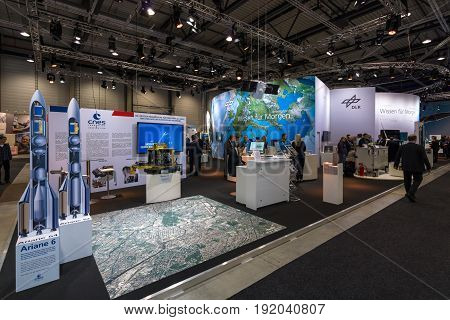 BERLIN GERMANY - JUNE 01 2016: The stand of German Aerospace Center (DLR). Exhibition ILA Berlin Air Show 2016.