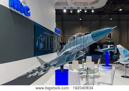 BERLIN GERMANY - JUNE 01 2016: The stand of Unated Aircraft Corporation (Russia). Model of Russian fighter aircraft Mikoyan MiG-29M2. Exhibition ILA Berlin Air Show 2016