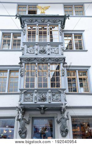 Beautiful Enclosed Balcony Of St. Gallen On Switzerland