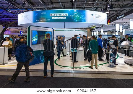 BERLIN GERMANY - JUNE 01 2016: The stand of Federal Ministry for Economic Affairs and Energy. Exhibition ILA Berlin Air Show 2016.