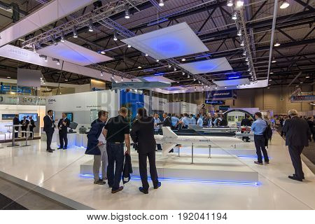 BERLIN GERMANY - JUNE 01 2016: The stand of Diehl BGT Defence GmbH & Ko KG is a German arms manufacturer and a subsidiary of the Diehl Stiftung GmbH. Exhibition ILA Berlin Air Show 2016.