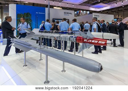 BERLIN GERMANY - JUNE 01 2016: The stand of Diehl Defence. Models of military missiles AIM-2000 IRIS-T and Laser-Guided Sidewinder (LaGS). Exhibition ILA Berlin Air Show 2016.