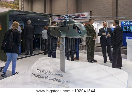 BERLIN GERMANY - JUNE 01 2016: The stand of Sikorsky Aircraft Corporation. The model of heavy-lift cargo helicopter Sikorsky CH-53K King Stallion. Exhibition ILA Berlin Air Show 2016.