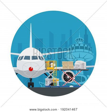 Icon Air Cargo Services and Freight Airplane with Autoloader at the Airport on the Background of the City Unloading or Loading of Goods into the Plane Vector Illustration
