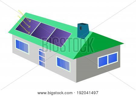 Illustration of green house with solar panels using renewable energy