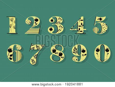 Floral Numerals. Yellow Symbols with black decor and silhouettes of Graceful Flowers. Illustration