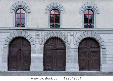St. Gallen Switzerland - 23 November 2016: Door detail at the abbey of St. Gallen on Switzerland