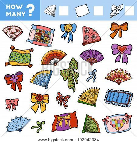 Counting Game for Preschool Children. Educational a mathematical game. Count how many items and write the result! Pillows fans and bows