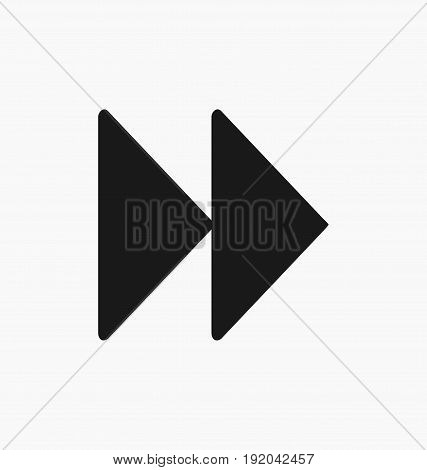 Media player fast forward button flat vector icon.