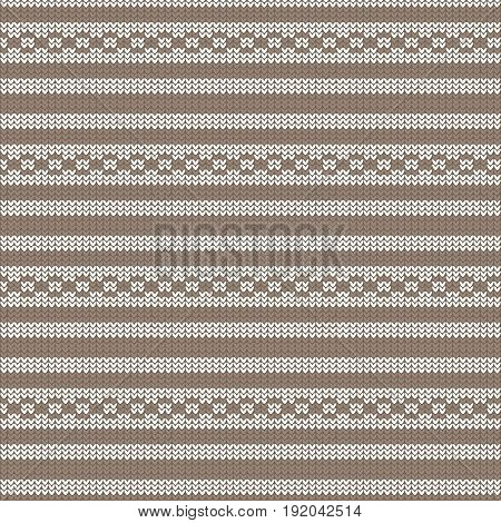 brown and white striped with circle loop striped knitting pattern background vector illustration image