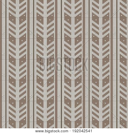 brown shade and white feather shape vertical striped with spot knitting pattern background vector illustration image